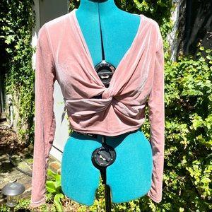 Pink Velvet Cropped Long Sleeved Twisted Bolero